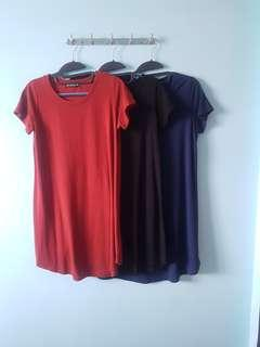 3 casual wear dress (black / blue / red)  [early pregnancy maternity wear also can]