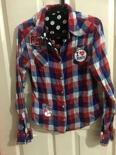 Long sleeve double sided button up shirt