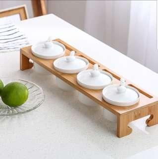 Home nordic ceramic condiment spice jar container rack of 4 with spoons