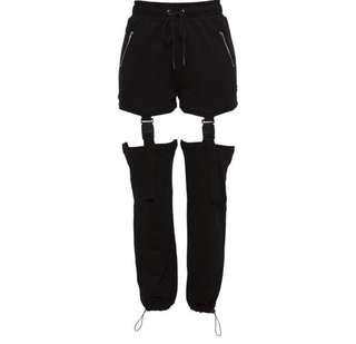 suspender detail buckle joggers