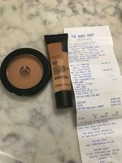body shop clay matte powder + foundation