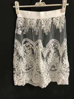 女裝 - 韓國 米白色 蕾絲 半截裙 lace skirt