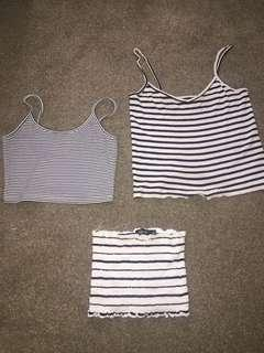 Striped cropped tops + free skirt