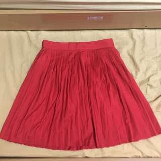 H&M Red Pleated Skirt
