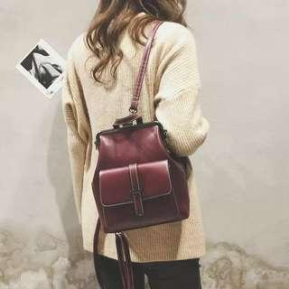 6eb2c5d32db Vintage Backpack Women Ladies Girls Wine Red Small School Bag Japanese  Japan Korean Kpop Ulzzang sling