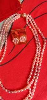 Fashion pearl necklace and earings