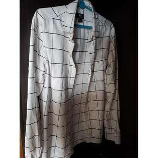 H&M Regular Fit Black & White Long Sleeve Shirt