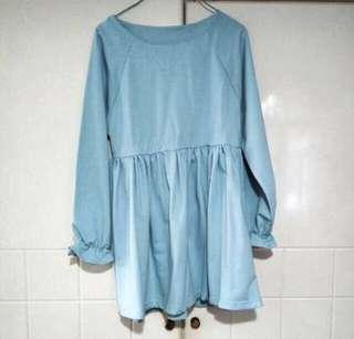 Pastel Blue Baby Doll Blouse