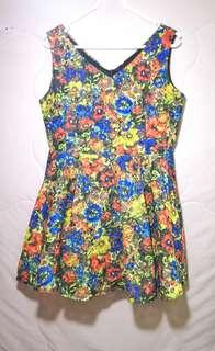 Rainbow Color Floral Dress