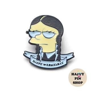 Lisa Simpson X Wednesday Addams! Enamel Pin (Halloween)