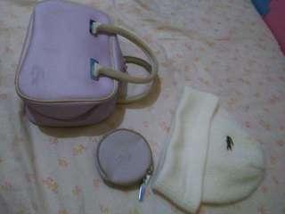 Lacoste Bag, Coin purse & Beanie hat bundle