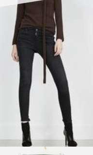 zara basic dept skinny jeans with zip in charcoal