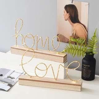 🚚 ins北歐風格客廳臥室家居裝飾品LOVE英文字母亮燈輕奢創意小擺件 預購
