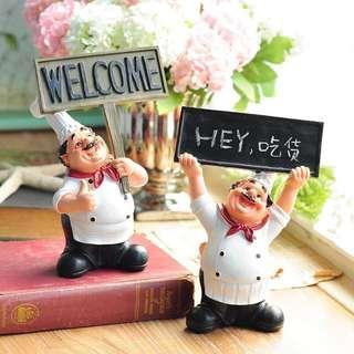 🚚 歐式廚師擺件咖啡廳裝飾品甜品蛋糕店客廳酒櫃西餐廳創意人物擺設 預購