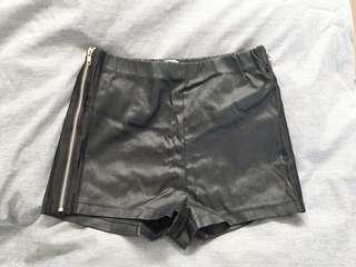 Black Faux Leather Zip Shorts
