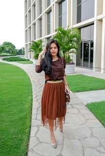 Set Atasan coklat dan rok tutu (rok kekinian)