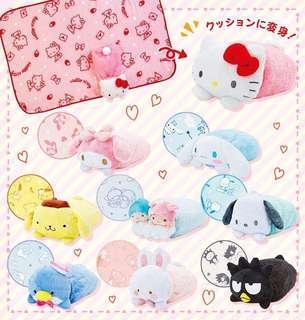 日本新貨預購: Sanrio經典卡通人物公仔毛毯(3-way)