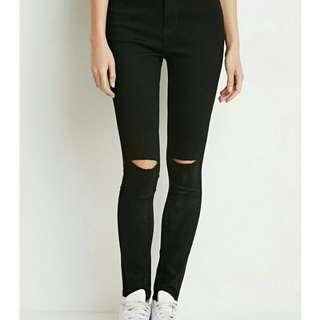 Forever 21 black knee ripped jeans