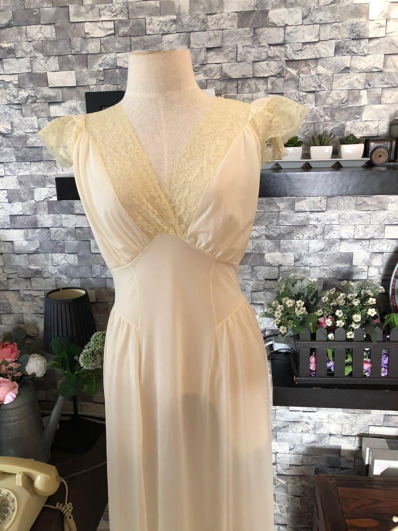 2f84e5fb40 1930 s light lemon chiffon colour lace vintage slip dress nightgown ...