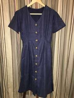 Navy Suede Buttoned Dress