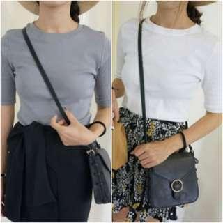 [White/Grey] Basic 3/4 Sleeves Shirt