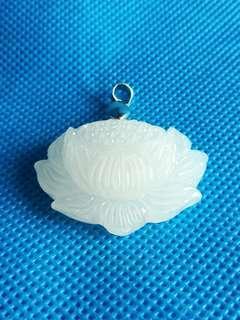 🚚 (20% Off) Natural Afghan White Jade Lotus Pendant 天然阿富汗白玉莲花吊坠