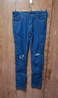 Ulzzang dark denim ripped knee jeans