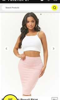 Forever21 ribbed knit pencil skirt blush