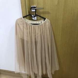仙氣 紗裙 長裙 網紗 卡奇色 橡根頭