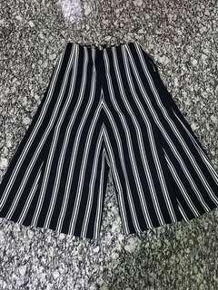 Lver Navy Blue Striped Culottes
