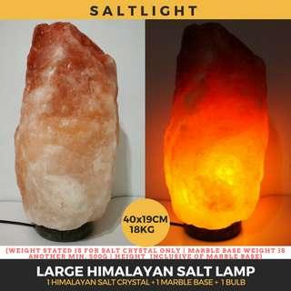 🚚 Authentic Himalayan Salt Crystal Lamp | LARGE 18KG | Beautify & Purify | Raw Luxury | 84 natural minerals essential to human body | Cleanse indoor air