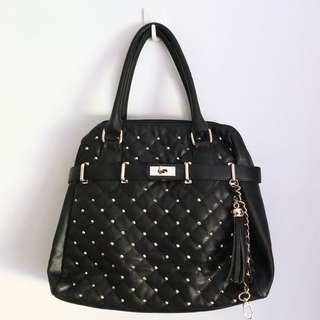 BLACK BIRKIN INSPIRED SHOULDER BAG