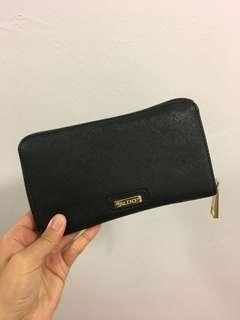 Black faux leather long wallet