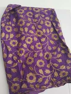 Kain kebaya motif bunga sarung ungu gold kawinan kondangan seragam 2meter ud jadi sarung batik