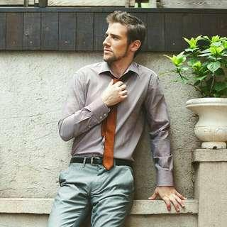 男裝長袖純棉間條恤衫 咖啡色 Mens dress Shirt long sleeve smart casual