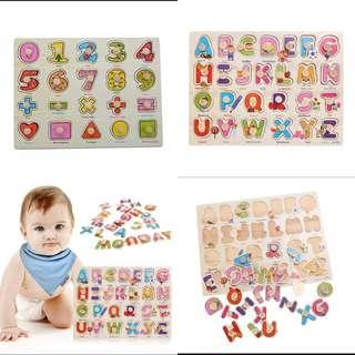 Set of 2 Learning peg puzzles - alphabets and numbers