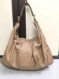 GUCCI Large Tan Leather Jockey Hobo Bag