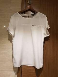 Ax white grey cotton silk blouse