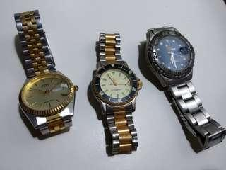 3 old worn watches.for.sale