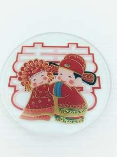 Double Happiness glass coaster