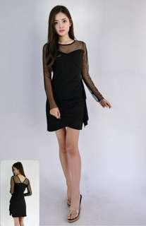 Mesh net long sleeve black dress