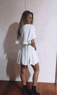 White Cape Dress with low sides