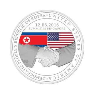 「特金會」美韓峰會精鑄紀念銀章  United States & North Korea Summit 2018 1 oz 999 Fine Silver Proof Medalliond