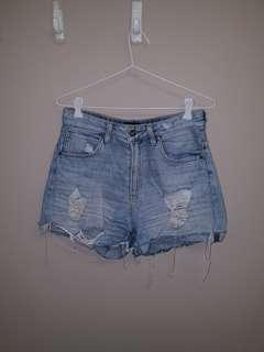 Lee Light Blue Destressed Denim Shorts Size 10