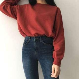 Red sweater pullover long sleeve