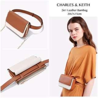 Original Charles & Keith 2in1 Leather Bum Bag