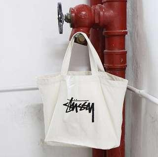 Stussy 2 in 1 Natural Canvas ( Tote Bag + Mini Pouch ) • Japan Smart Magazine,Collection 2017 •