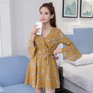 Chiffon midi yellow floral wrap waist dress