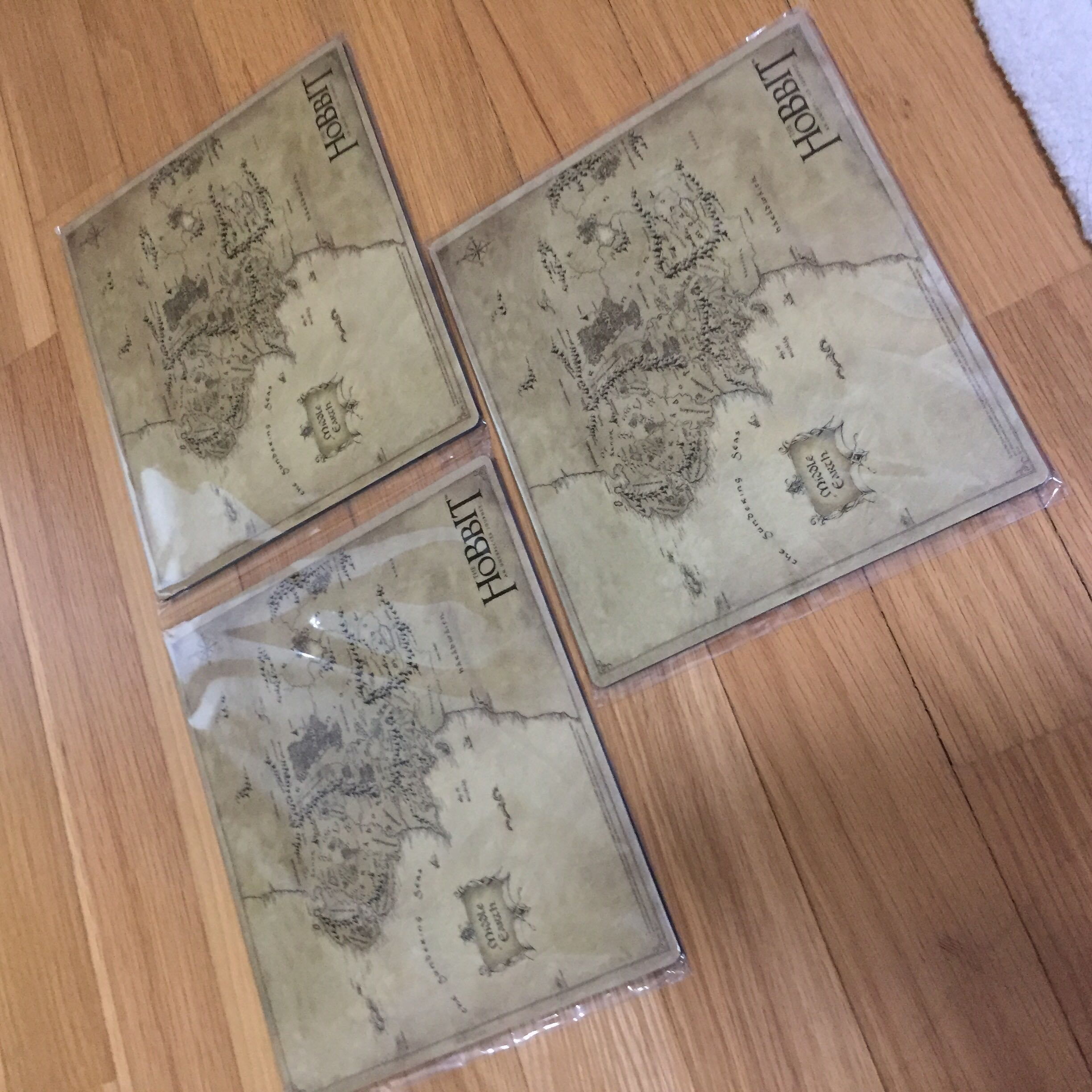 3 x The Hobbit Mousepad (Map of Middle Earth)