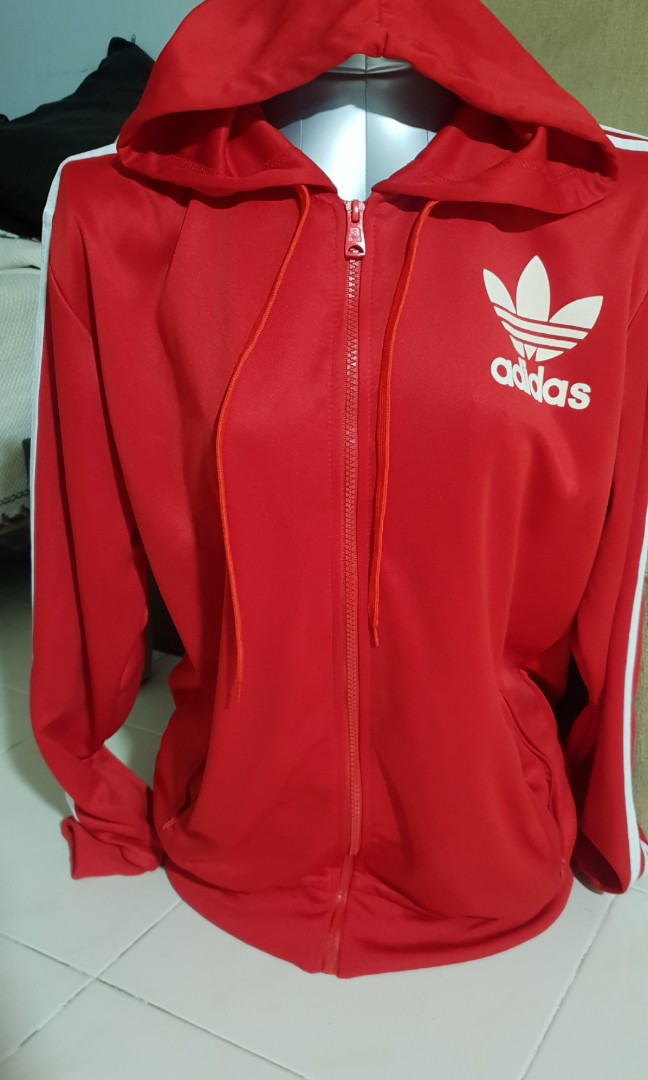 ADIDAS RED HOODED JACKET